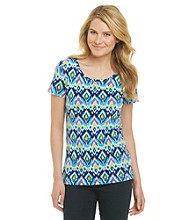Jones New York Sport® Blue Ikat Patterned Tee