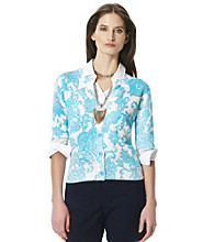 Jones New York Sport® Blue Multi Floral Patterned Button Cardigan