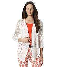 Jones New York Sport® White Open Stitch Drape Cardigan