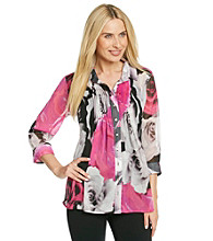 Fever™ Rose Print Pleated Blouse