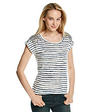 Vince Camuto® Painter Stripe Tee with Shoulder Studs