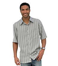 Synrgy Men's Big & Tall Khaki Multi-Striped Short Sleeve Microfiber Camp Shirt