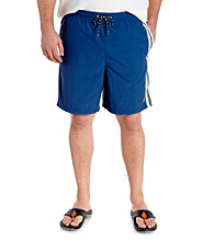 Nautica® Men's Big & Tall Blue Full Elstic Waist Swim Short with Side-Stripe