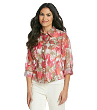 Ruby Rd.® Petites' Floral Burn-Out Shirt