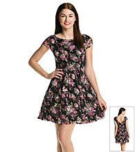 Bee Darlin' Juniors' Lace Printed Skater Dress