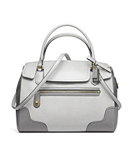 COACH POPPY COLORBLOCK LEATHER FLAP SATCHEL