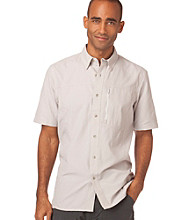 Chaps® Men's Gray Mist Shrt Sleeve Cenote Ripstop Button Down Shirt