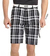 Izod® Men's Caviar Black Flat Front Plaid Short