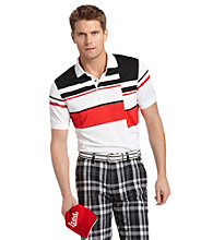 Izod® Men's Bright White Short Sleeve Off-Set Striped Golf Polo