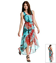 Sequin Hearts® Juniors' Feather Print Maxi Dress