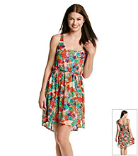 not forever Juniors' Floral Print Mesh Dress
