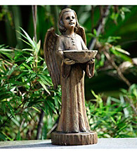 "15"" Wood Carved Angel Bird Feeder Figure"