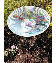 """21"""" Hand Painted Glass Dragonfly and Flower Spring Bird Bath"""