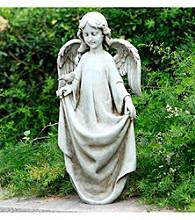 "17.5"" Angel Holding Dress Bird Feeder Statue"