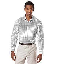 Perry Ellis® Men's Bright White Long Sleeve Plaid Button Down Shirt