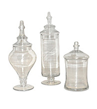The Pomeroy Collection Aris Set of 3 Apothecary Jars