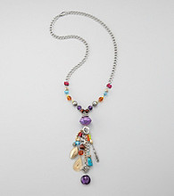 Relativity® Multi and Silvertone Tassel Necklace