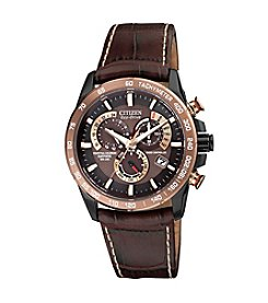 Citizen® Eco-Drive Men's Perpetual Chrono A-T with Brown Leather Strap