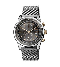 Citizen® Eco-Drive Men's Stainless Steel Chronograph Watch with Mesh Bracelet