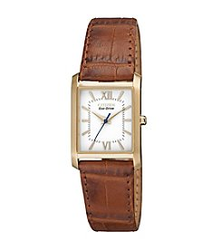 Citizen® Eco-Drive Women's Goldtone Watch with Brown Leather Strap Watch