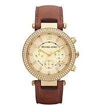 Michael Kors® Goldtone and Brown Parker Watch