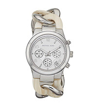 Michael Kors® Silvertone and Cream Runway Twist Watch