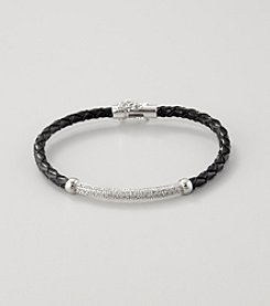 Marsala Silver Plated and Black Leather Bracelet