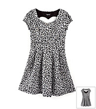 Amy Byer Girls' 7-16 Grey/Black Animal Print Dress