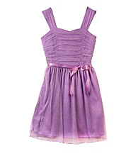 Amy Byer Girls' 7-16 Purple Roller Glitter Sparkle Dress