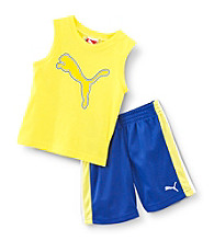 PUMA® Baby Boys' Yellow Cat Muscle Shorts Set