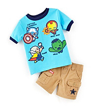 Nannette® Baby Boys' Turquoise 2-pc. Avenger Tee and Shorts Set
