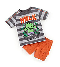 Nannette® Baby Boys' Orange 2-pc. Hulk Tee and Shorts Set