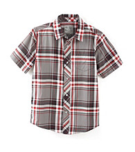 Calvin Klein Boys' 8-20 Red Short Sleeve Plaid Woven Shirt