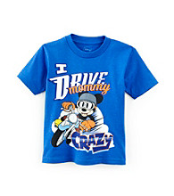 Disney® Boys' 2T-4T Blue Short Sleeve Mickey Drive Mom Crazy Tee
