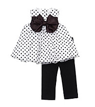 Rare Editions® Baby Girls' White/Black Polka Dot Bubble Dress And Leggings Set