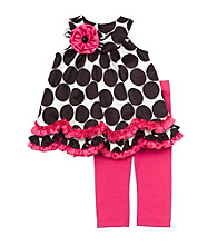 Rare Editions® Baby Girls' Black/Fuchsia Polka Dot Dress And Leggings Set