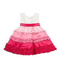 Rare Editions® Baby Girls' Ivory/Pink Ruffle Satin Party Dress