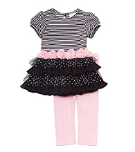Rare Editions® Baby Girls' Black/White 2-pc. Striped Ruffle Top And Legging Set