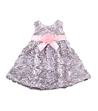 Rare Editions® Baby Girls' Silver Soutach Bow Dress