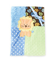 Cuddle Bear® Baby Boys' Blue Lion Patchwork Blanket