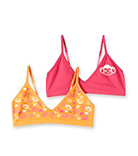 St. Eve® Intimates Girls' Pink/Orange 2-pk. Monkey Crop Tops
