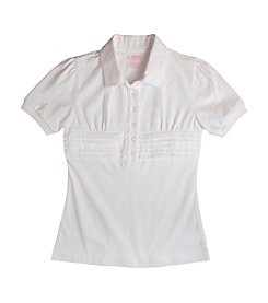 French Toast® Girls' 4-20 White Short Sleeve Waist Tuck Polo