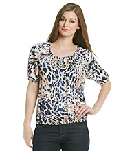 Notations® Smocked Neckline All Over Animal Print Top