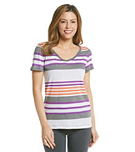 Calvin Klein Performance Multi Stripe V-Neck Tee