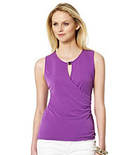 Jones New York Signature® Faux Wrap Tank with Hardware