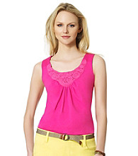 Jones New York Sport® Crochet Neckline Tank
