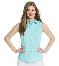 Jones New York Signature® Sleeveless Easy Care Button Down Top