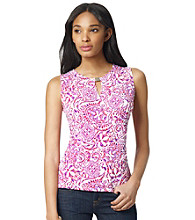 Jones New York Signature® Printed Faux Wrap Tank with Hardware