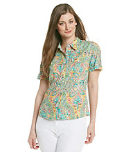 Jones New York Sport® Multi Floral Printed Short Sleeve Shirt