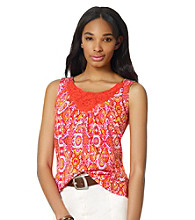 Jones New York Sport® Abstract Print Tank with Crochet Detail